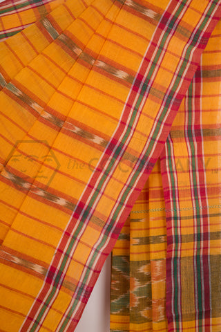 Yellow Tie Dye Cotton Saree