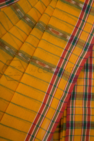 Yellow Tie Dye Cotton Dhaniakhali Saree