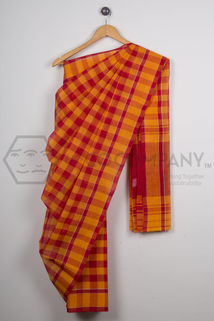 Checkered Cotton Dhaniakhali Saree