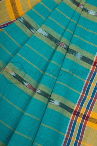 Cyan Tie Dye Cotton Dhaniakhali Saree