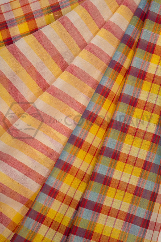 Yellow Checekered Cotton Saree