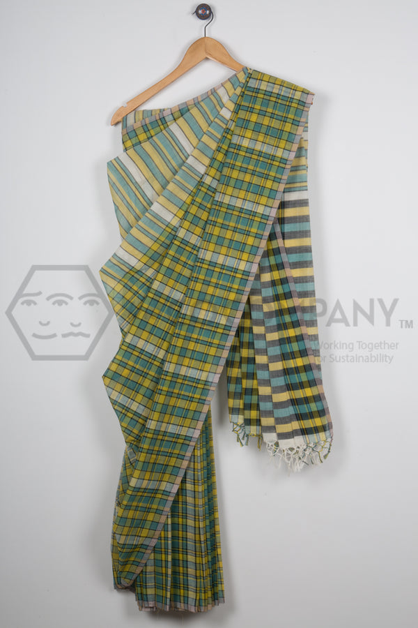 Checkered Soft Cotton Saree