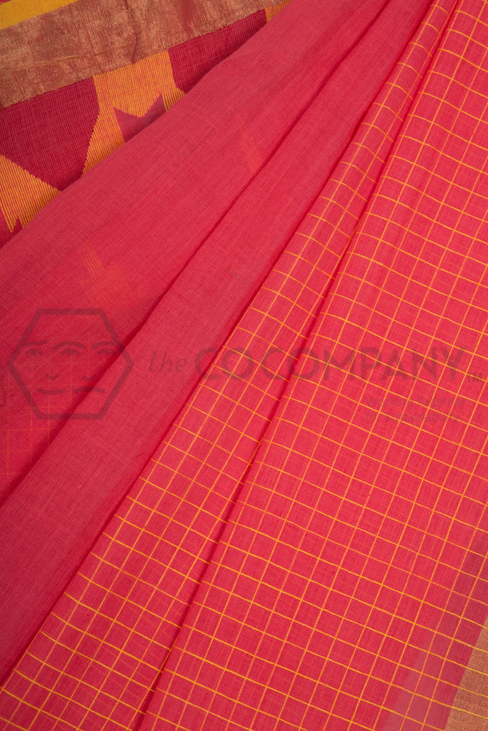 Orangish Peach Jaamdani Saree