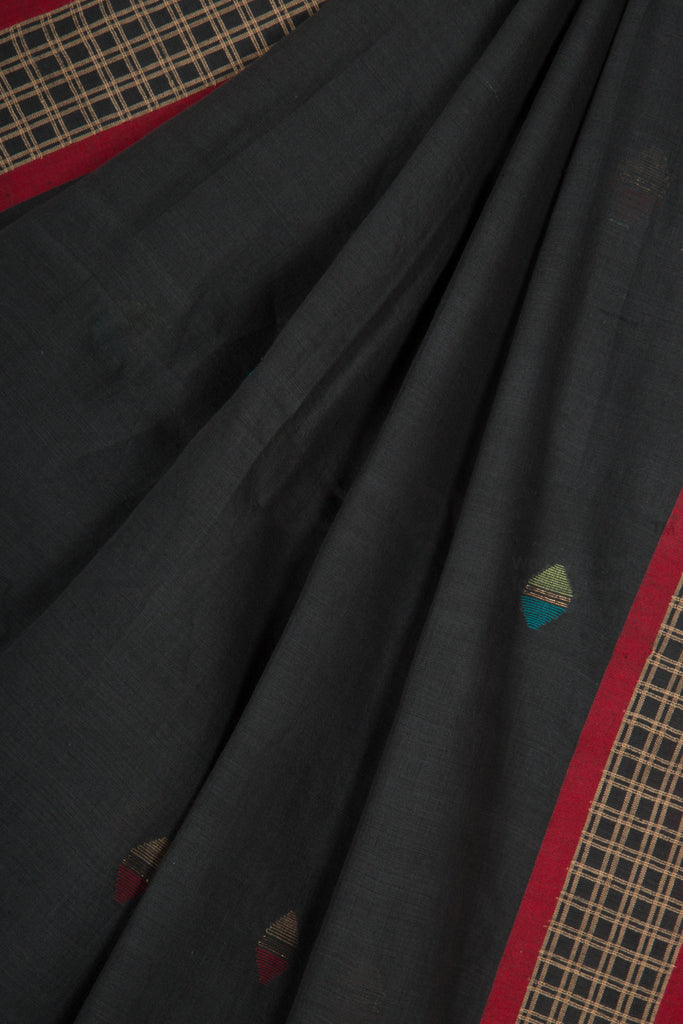 Smoky Black Jaamdani Saree