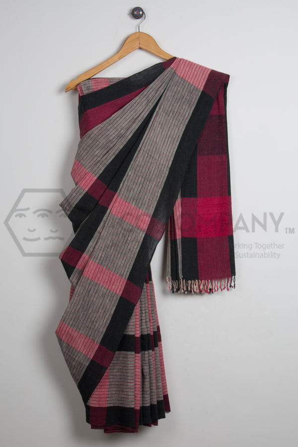 Kala Cotton Natural Dye Saree Red Grey Black