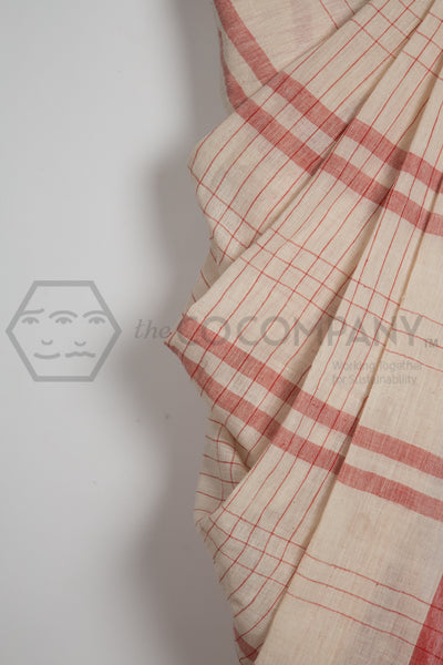Kala Cotton Natural Dye Saree Red and White