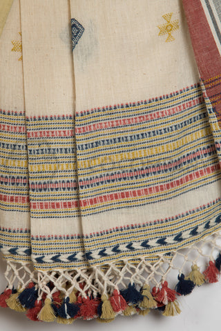 Kala Cotton Bhujodi Saree with Peacock Motif