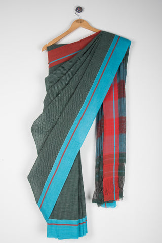 Dark Green Checkered Saree with Red Blue Pateda Anchu