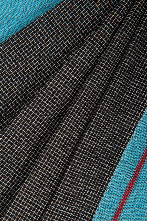 Black Checkered Saree with Blue Pateda Anchu