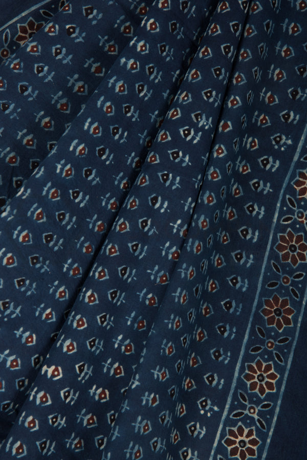 Ajrakh Print Saree on Blue Base