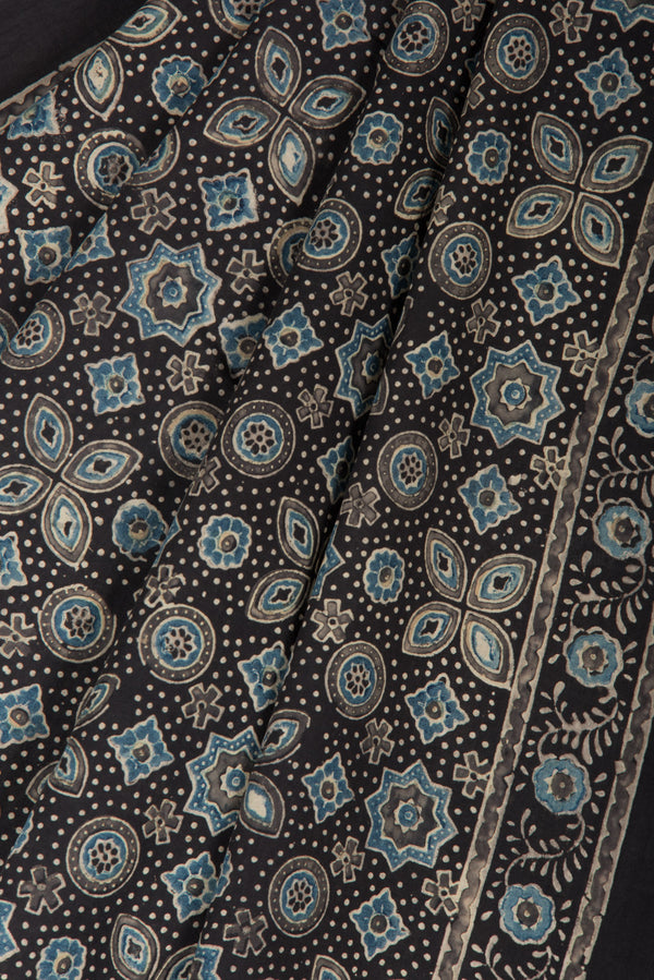 Ajrakh Print Saree on Black Base