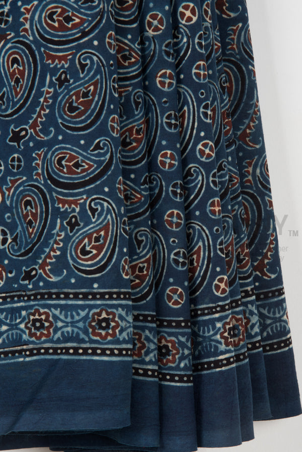 Paisley Ajrakh Print Saree on Blue Base