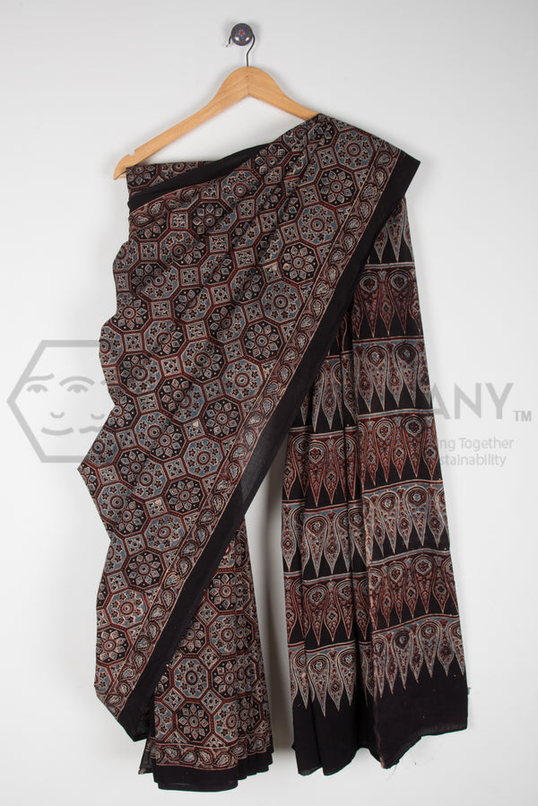 Hexagon Ajrakh Print Saree on Black Base