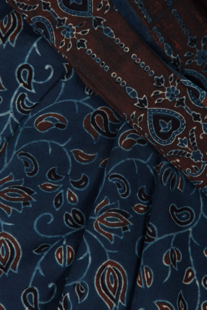 Floral Ajrakh Print Saree on Blue Base
