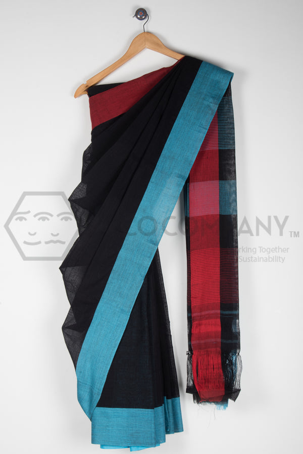 Plain Black Saree with Red Blue Pateda Anchu