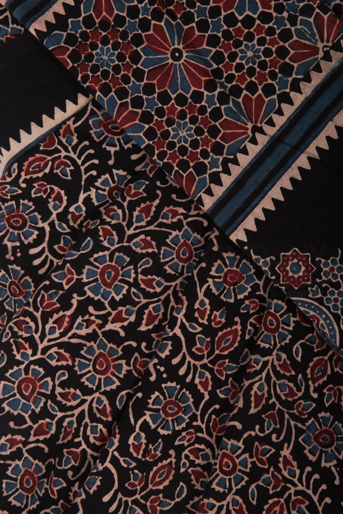 Ajrakh Saree on Black Base