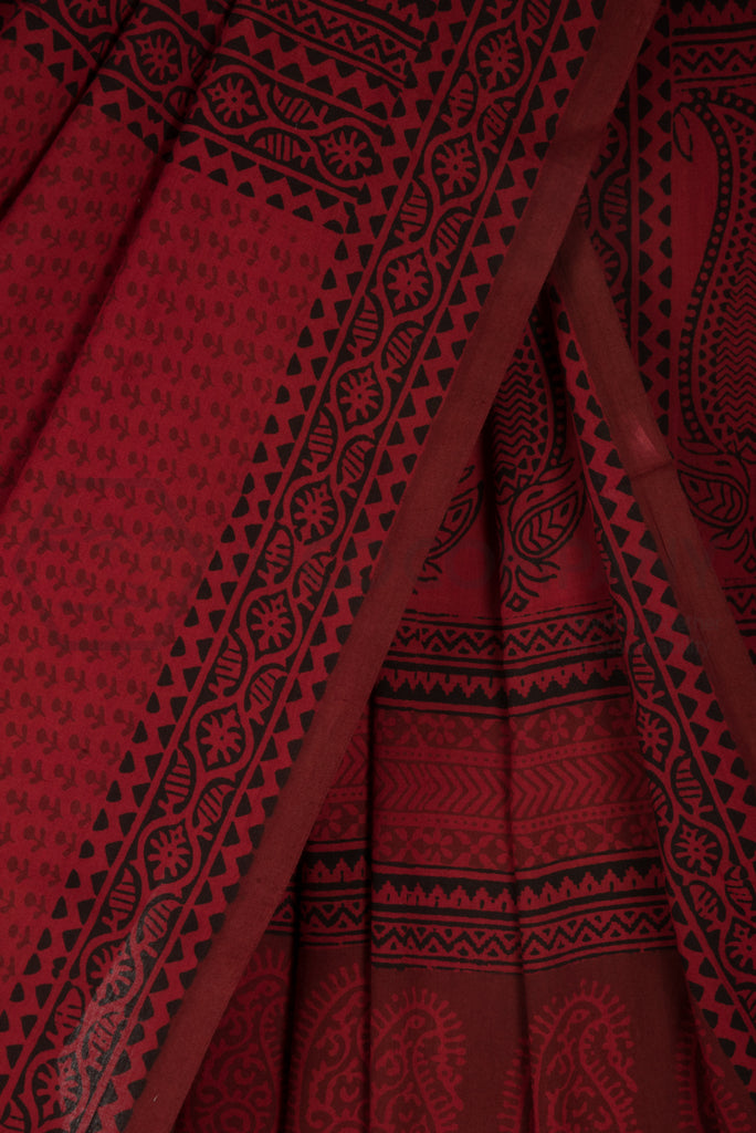 Bagh Printed Red Saree