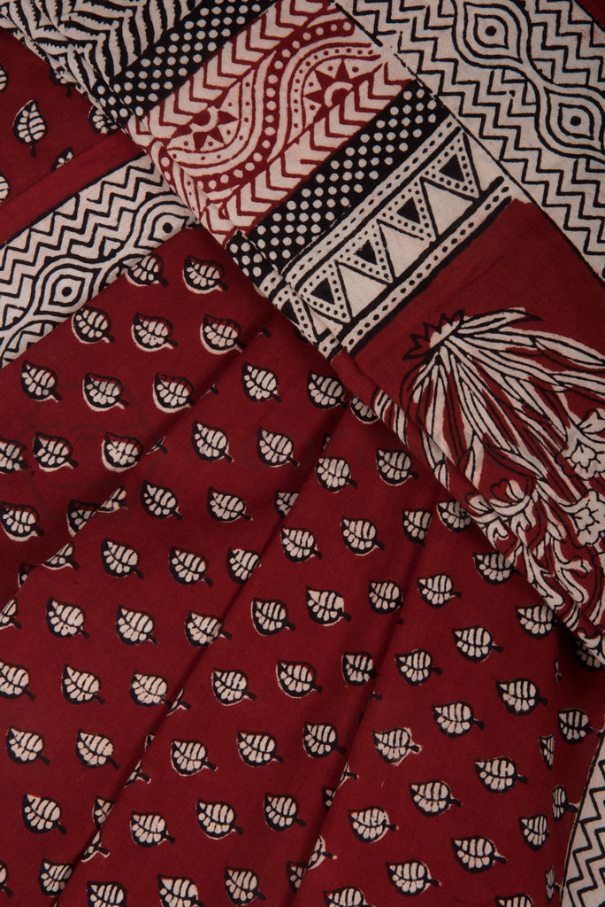 Leaves on Red Bagh Print Saree