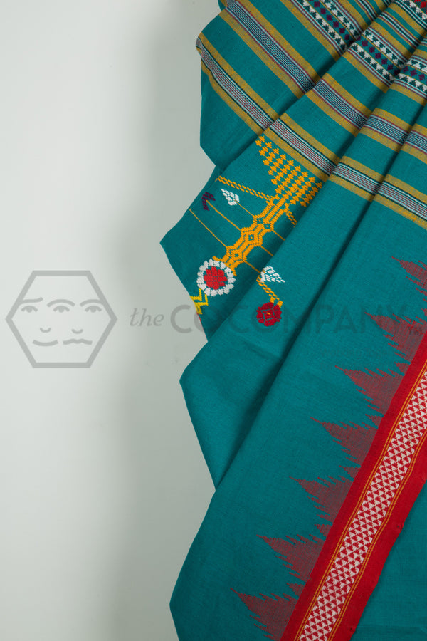 Sea Green Bomkoi Saree