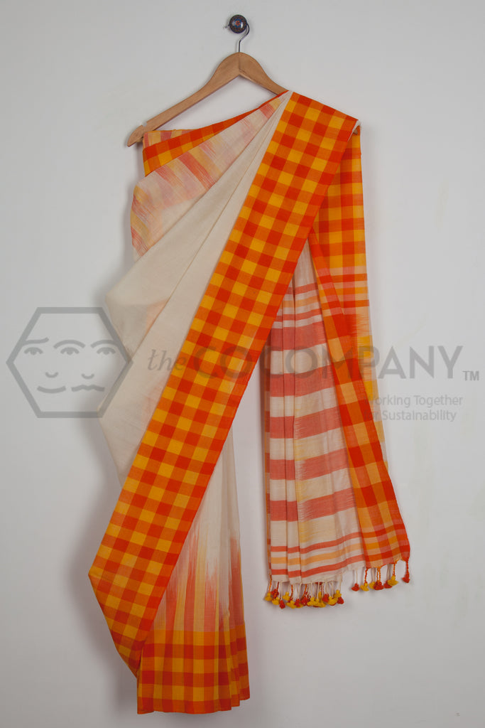 Tie Dye Checkered Border Saree