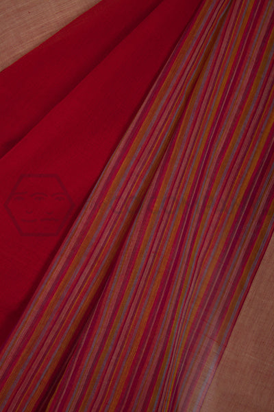 Red Saree with several Thin Stripes