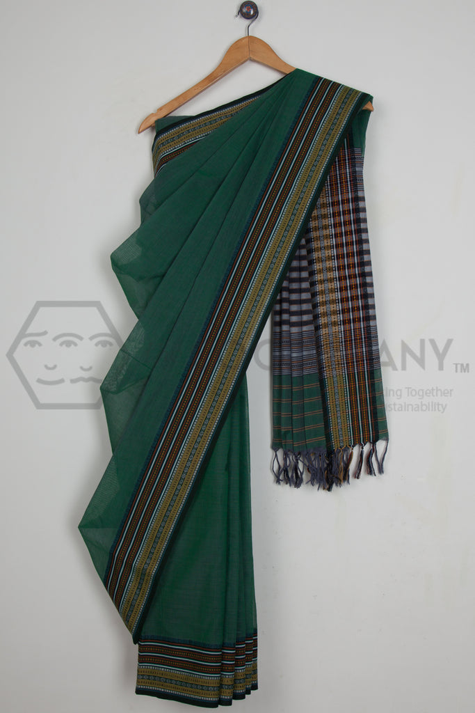 Green Dobby Border Begampur Cotton Saree