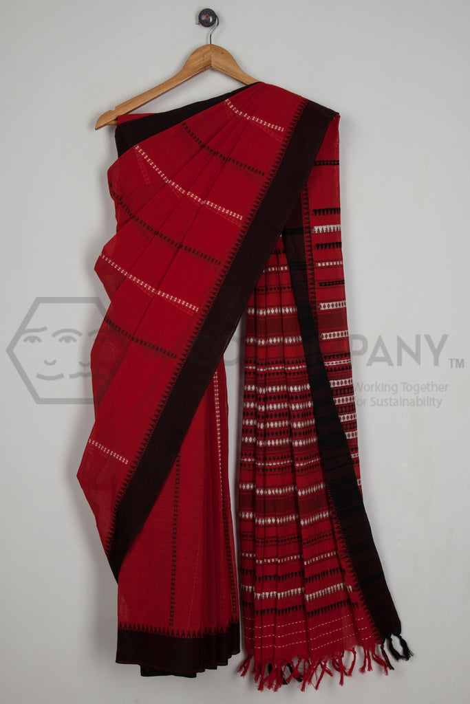 Red Begampur Cotton Saree