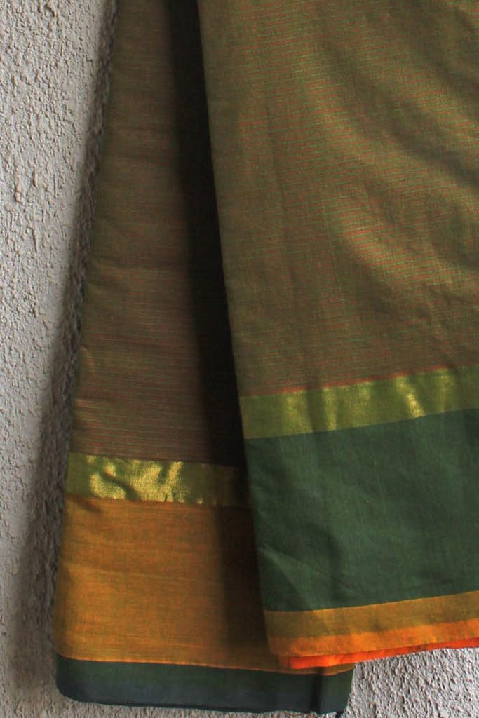 Green Red Striped Saree