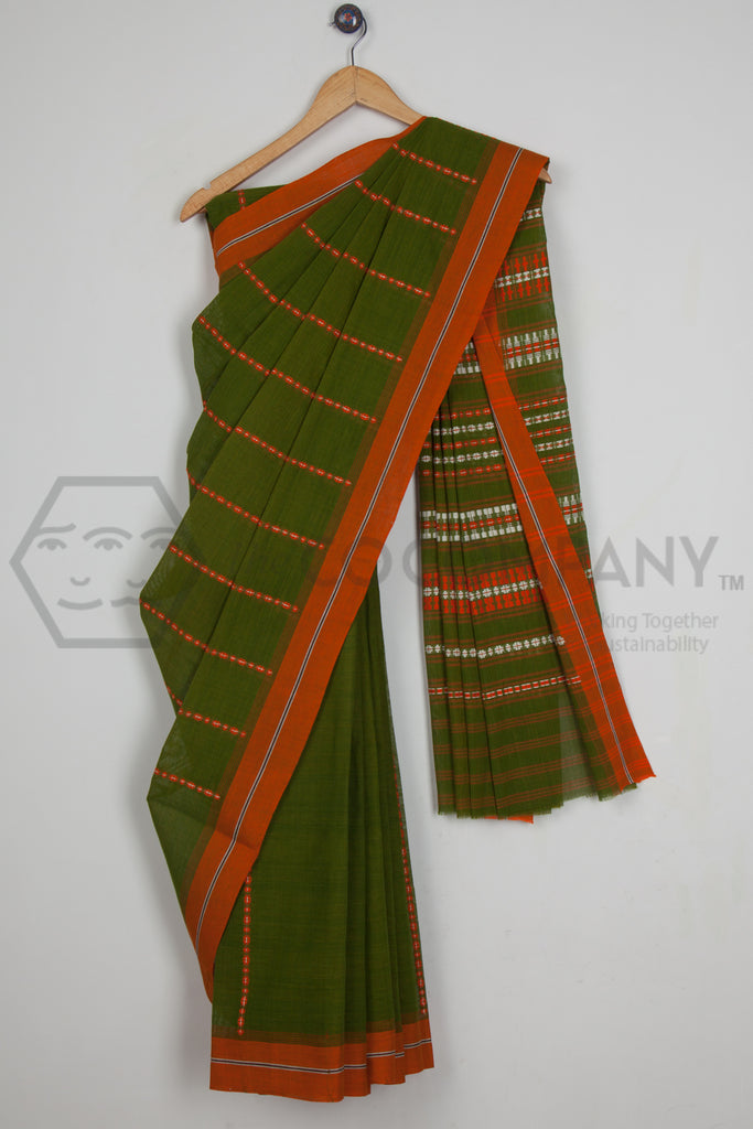 Green Begampur Cotton Saree