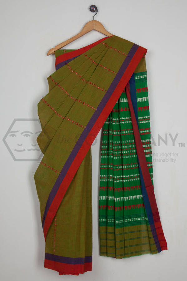 Yellowish Green Begampur Cotton Saree