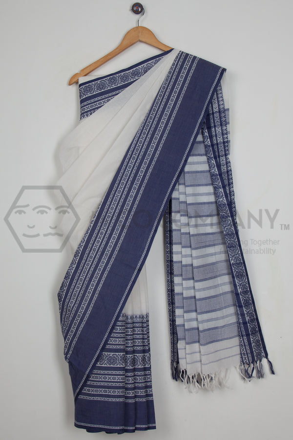 White Begampur Cotton Linen Saree