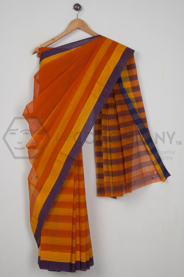 Yellow Orange Dhaniakhali Saree