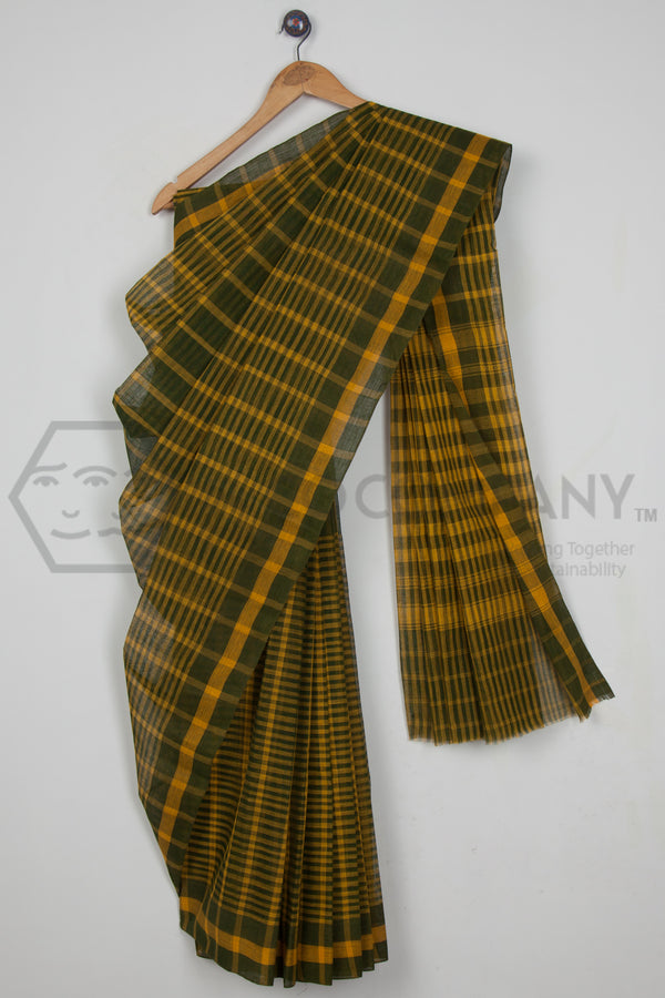 Green Checkered Dhaniakhali Saree