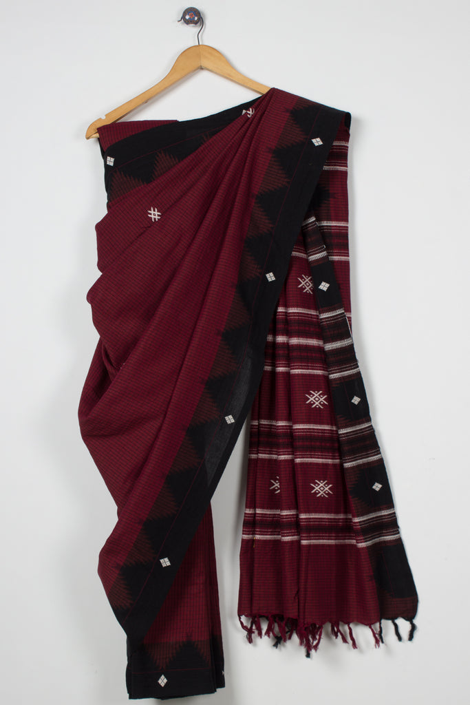 Maroon Checkered Kotpad Saree