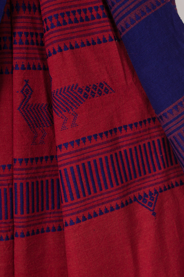 Maroon Kotpad with Peacocks on Pallu