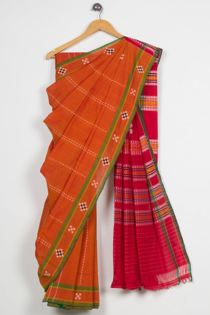 Orange Dhalapathar Saree