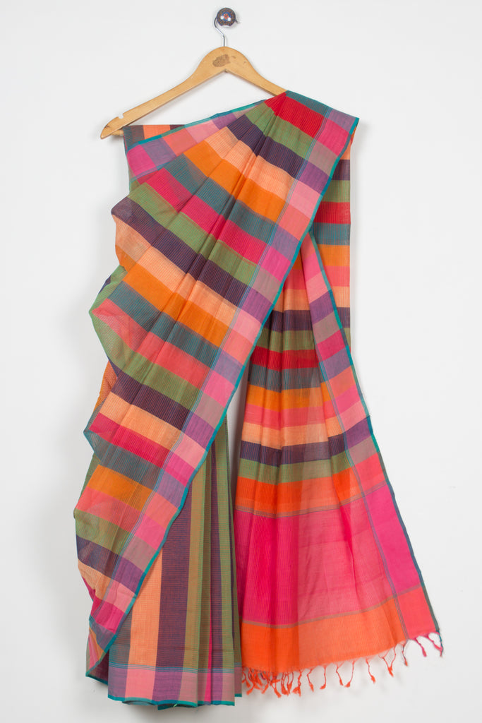 Colorful Bands Missing Lines Saree