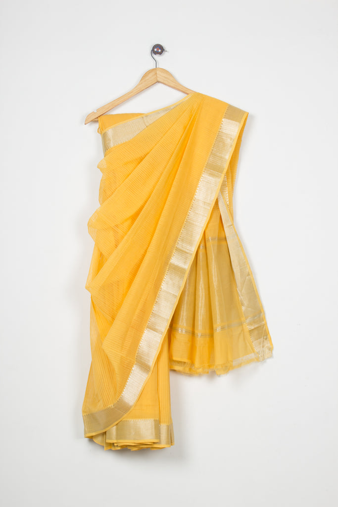 Nizam Border Mangalgiri Yellow Saree