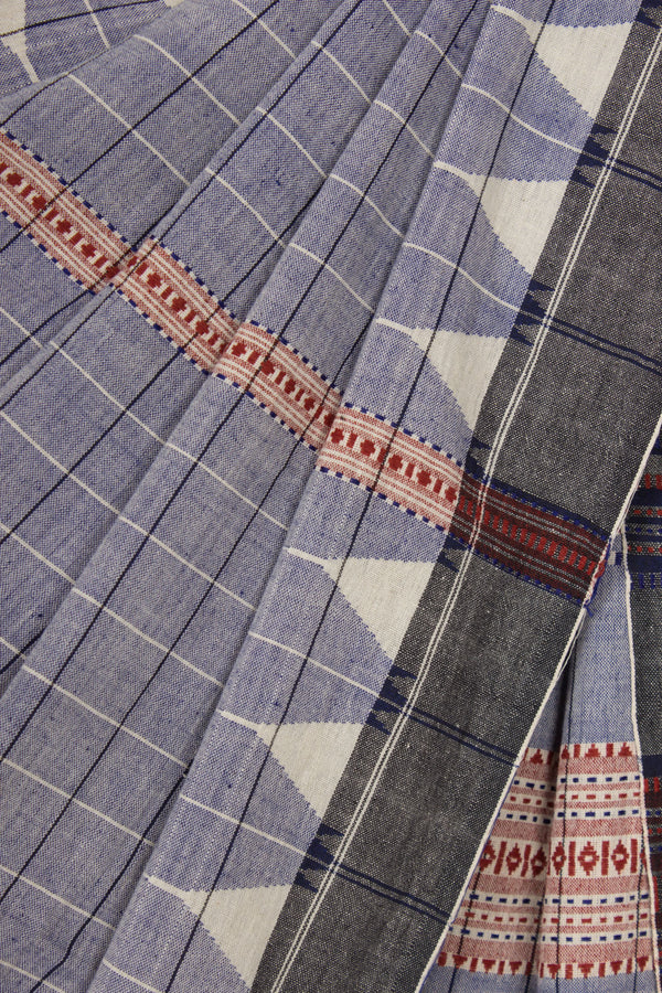 Checkered Indigo Kotpad Saree