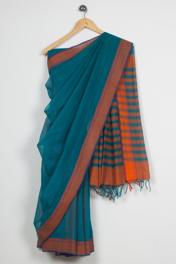 Missing Checks Peacock Blue Saree