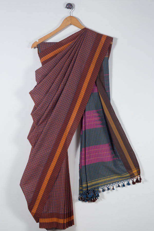 Checkered Ilkal Saree