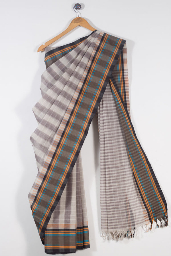 Grey Checks Sarees