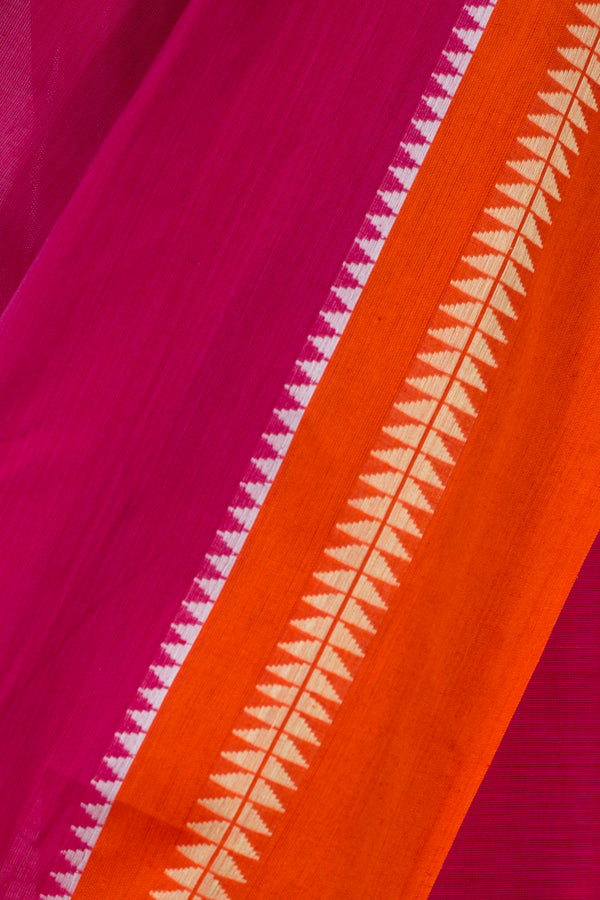 Pink Karvat Border Cotton Saree
