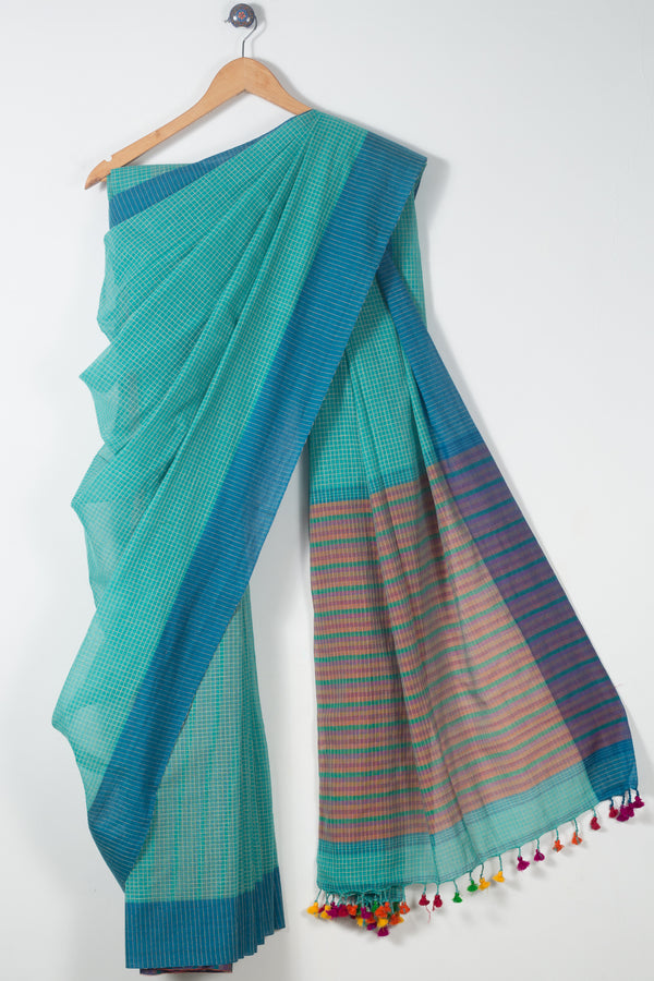 Checkered Khadi Cotton Saree