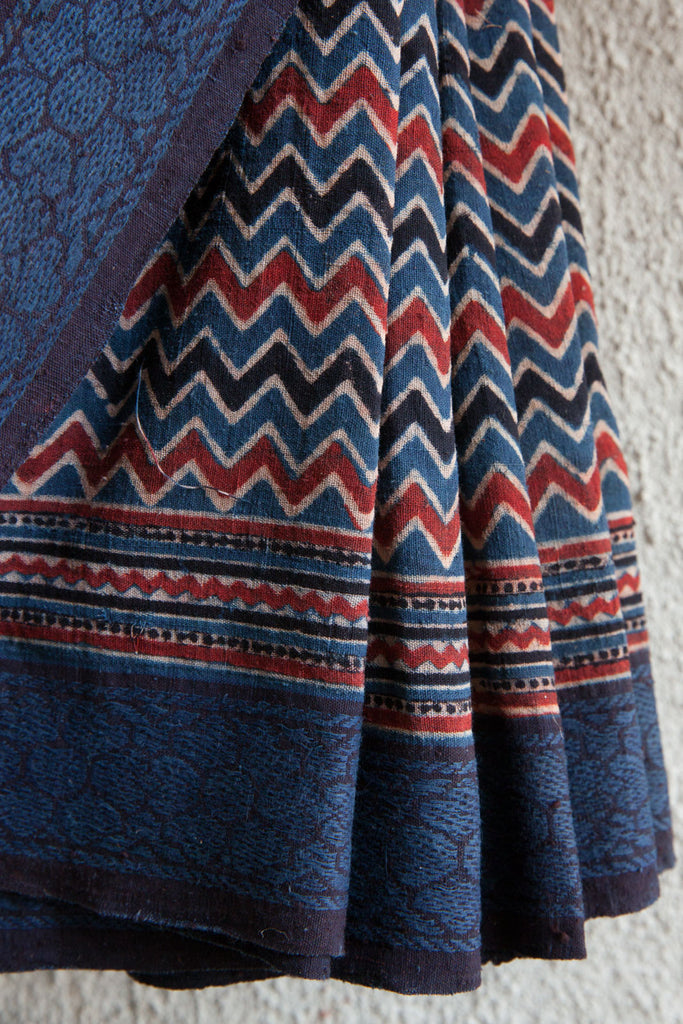 Zig Zag Ajrakh Print with Floral Border