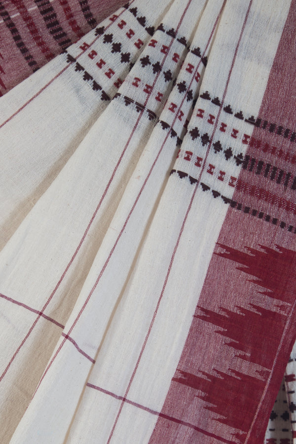 Checkered Kora Kotpad Saree