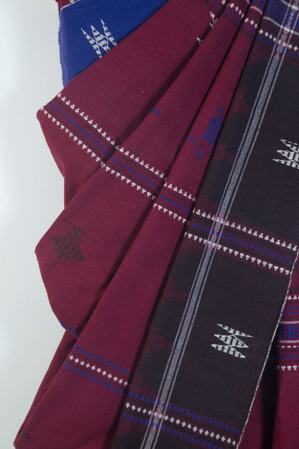 Maroon Kotpad Saree with indigo Motifs