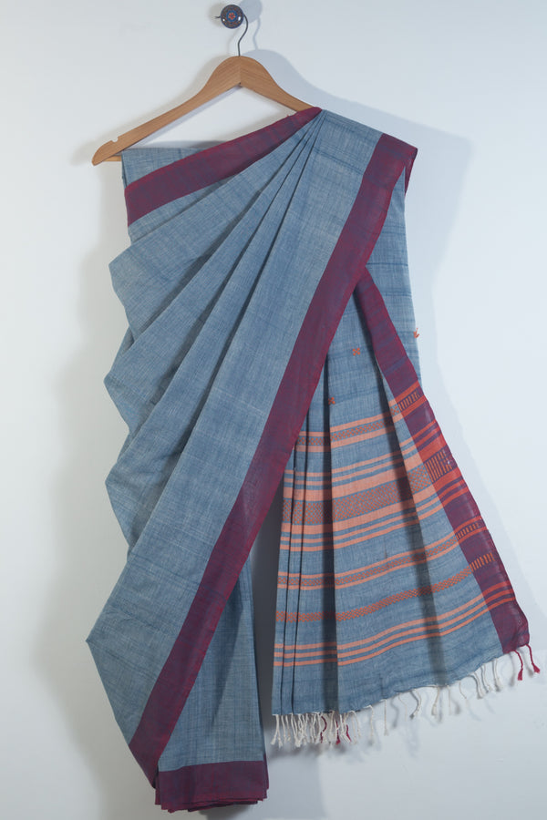 Light Blue Assam Saree