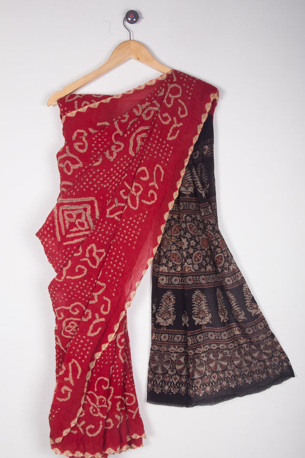Red Bandhani Ajrakh Saree