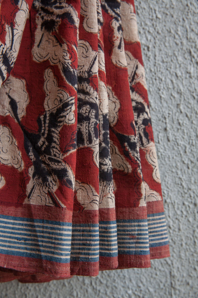 Red Saree with Cloud Crane Kalamkari Print (Stripe Border)